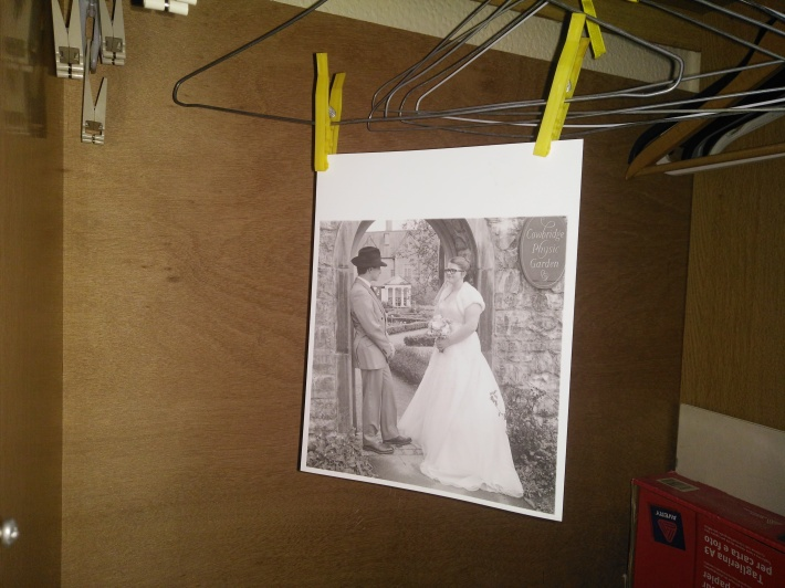 The first print from my new darkroom hanging up to dry