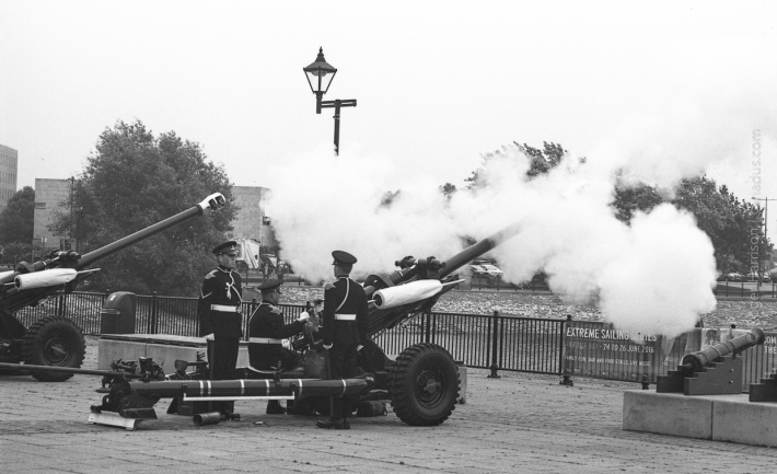 21 gun salute for the Queen - actually 3 guns firing 7 times each