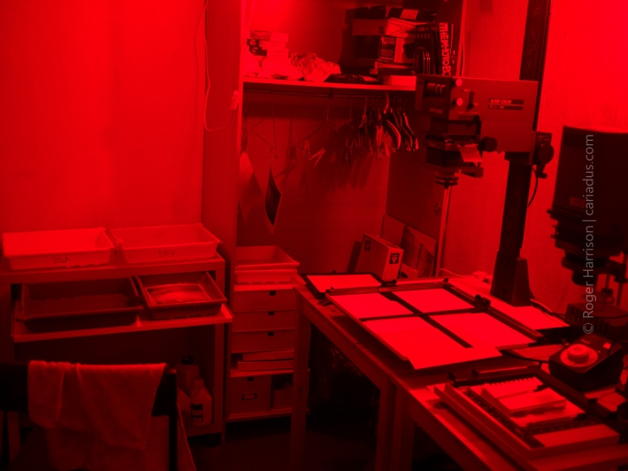 Darkroom with red lights on
