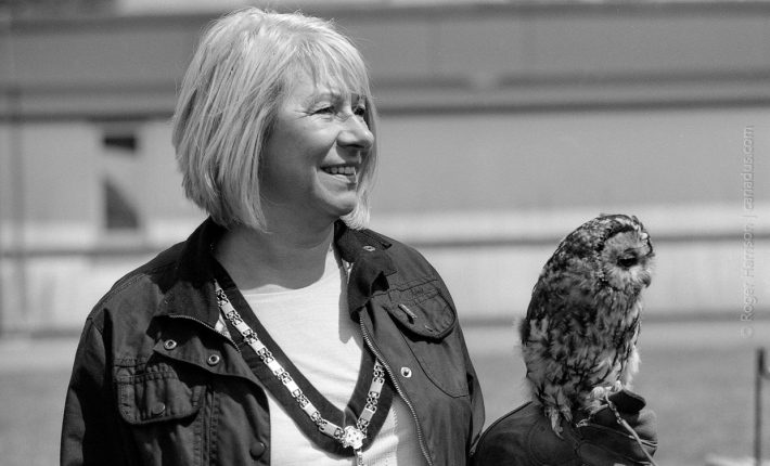 Cllr Cherie Jones, Deputy Mayor of Bridgend County Borough Council and friend G1, 90mm, XP2