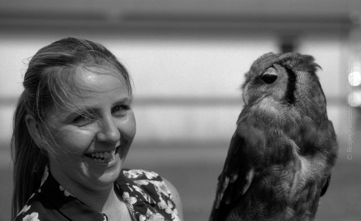 Cllr Hailey Townsend and owl G1, 90mm, FP4+