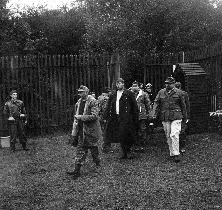 German POW re-enactors entering the compound.